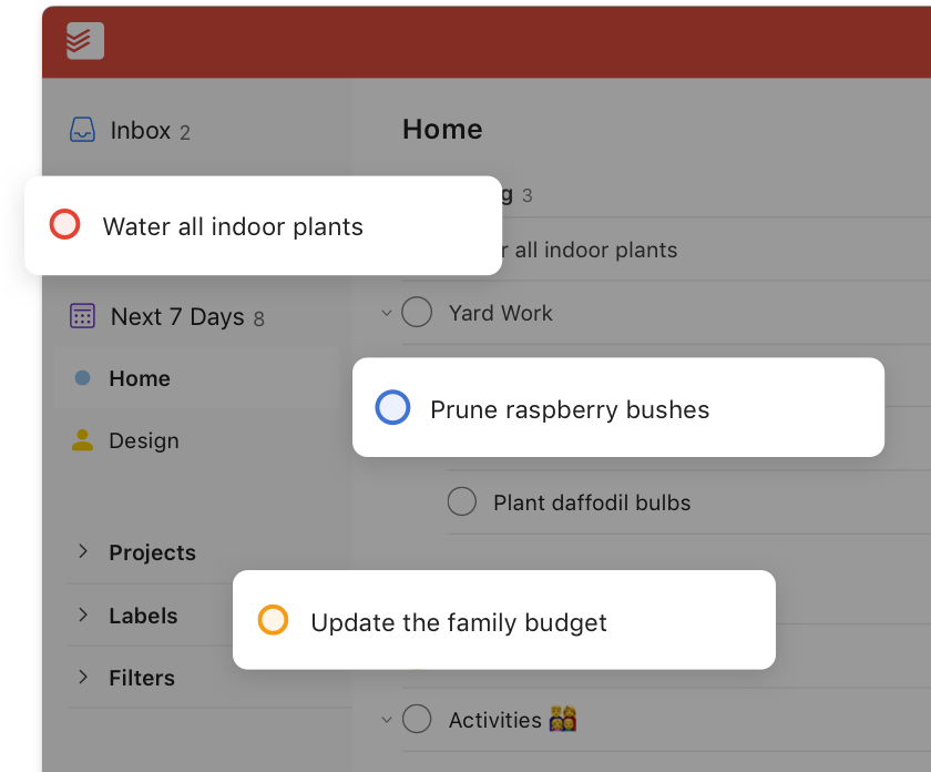 todoist task priority levels user interface